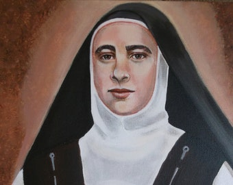 St. Maria Maravillas of Jesus Carmelite Nun 11x 14 Acrylic Painting on Canvas, OOAK Original painting, Catholic Art,