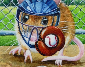 Summer Baseball Catcher Mouse Limited Edition ACEO Giclee Print reproduced from the Original Watercolor
