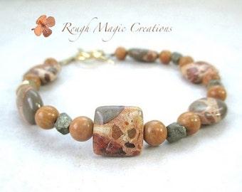 Ethnic Boho Chic Bracelet. Safari Jasper Gemstones. Pyrite Nuggets. African Animal Prints. Brown Tan Khaki Stones. Hand Forged Brass Clasp