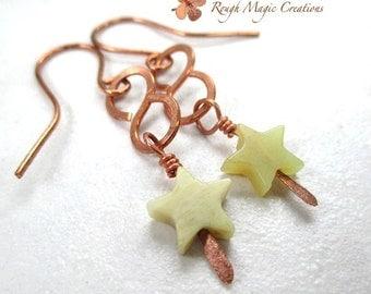 Rustic Boho Earrings. Copper and Gemstone Stars. Long Dangle Bohemian Earrings. Light Olive Green Serpentine New Jade Stones. Hammered Metal