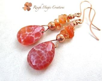 Large Boho Dangle Earrings. Orange Gemstones Fire Agate. Long Bohemian Style Earrings. Crackle Cracked Crab Agate Teardrops Carnelian Copper