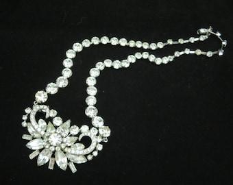 Rhinestone Necklace - Rhinestone Bridal Jewelry, 1950s Costume Jewelry, Clear Stones