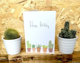 Happy Birthday simple card with cactus design cc186