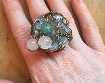 Stone Ring // Desert Rose // Boho Jewelry // Bohemian Style // Statement Ring // Hippie Jewelry // Adjustable Ring // Wire Wrapped