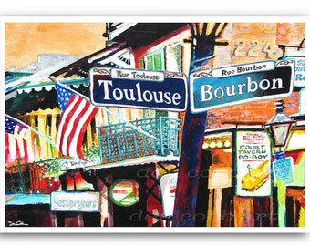 """French Quarter 13x19"""" New Orleans Mardi Gras Signs Art Print """"French Quarter"""" Signed and Numbered"""