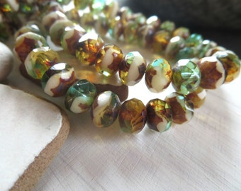 Brown and green Czech glass beads, faceted rondelle czech beads , mix with picasso edges    6mm x 8mm / 12 beads  6AZ711