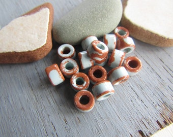 rondelle ceramic beads, 2 colors light blue and brown ,  small spacer discs washers , rustic beads  6mm x 4mm ( 12 beads ) 6asrm-4