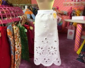 Simple White Embroidered Eyelet Blythe Doll Skirt/Slip (Vintage Fabric)
