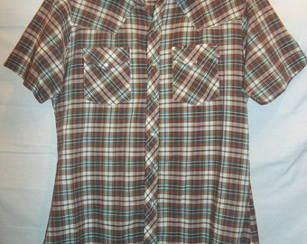Short Sleeved Brown Plaid 70s Youngbloods Vintage Western Shirt with Pearl Snaps M