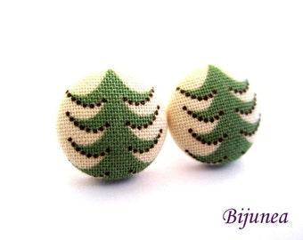 Tree stud earrings - Green tree post earrings - Tree stud earrings - Tress posts sf1263