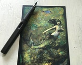 "SET OF 5 POSTCARDS - ""La Sirena"" 4 x 6 mermaid cards, postcards, post cards, ocean, fish, mythology"