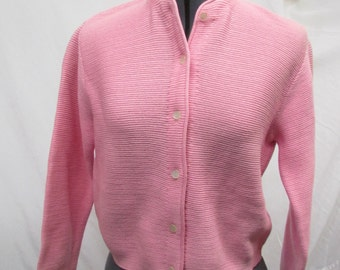 Vintage 1970's Sweater Zephyr Wool Knit PINK Cardigan Sweater Angelli Label S/M