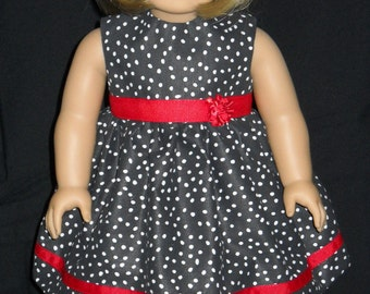 "18"" Doll Dress Handmade Black with White Poka Dots"