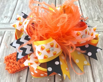 Over the Top Halloween Candy Corn Hair Bow,Orange and Black Hair Bows,Halloween Baby Headband,Big Bows,Baby Hairbows,Girls Bows,Photo Prop