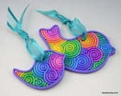 Rainbow Mother and Baby Bird Ornament Set in Pastel Fimo Filigree