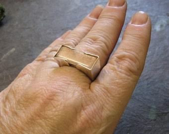 PINK MOONSTONE Ring, Sterling Silver, Horizontal Ring, sz 10.75, Modernist Design, Handmade, Geometric