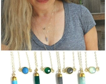 Gold Layered Necklace Set of 2, Gemstone Layered Necklace Set, Simple Everyday, Gift for her, Dainty Gold Necklace