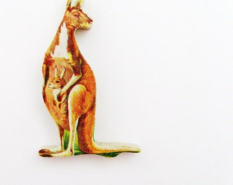Kangaroo Brooch Pin / Unique Gift Under 50 / Upcycled 1960s Hand Cut Wood Puzzle Piece / Brown Wood Jungle Animal Pin