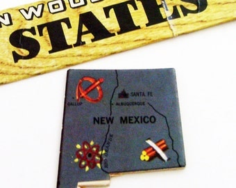 New Mexico Brooch - Pin / Unique Wearable History Gift Idea / Upcycled Vintage 1961 Wood Puzzle Piece / Timeless Gift Under 20