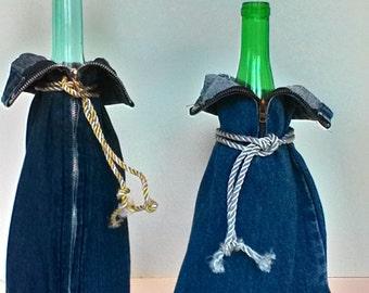 Bottle Jacket Sleeve Cover Wrap Minimalist Upcycled Denim Blue Jeans
