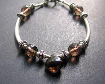 Smoky Quartz Bracelet, Smoky Quartz Sterling Silver Beaded Bracelet