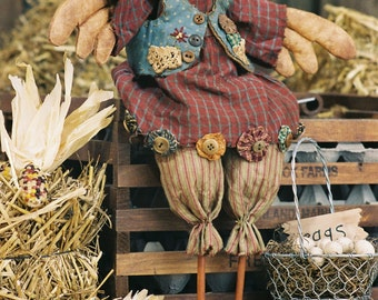 Mailed Cloth Doll Pattern 18in Country Chicken