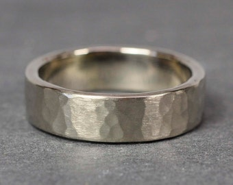 Men's 6mm Wide Hammered Matte Ring in Solid 14K Palladium White Gold, Sea Babe Jewelry