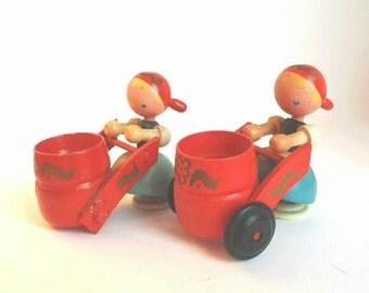 Vintage Wooden Dutch Girls Eggcup Figurine Pair
