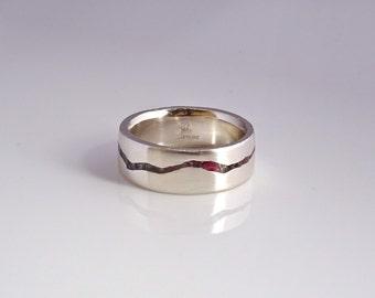 Gemstone Inlay Mountain Ring, 7mm band, Handmade Band w Gemstone Inlay, Sterling Silver, Palladium, Gold or Platinum Wedding Band