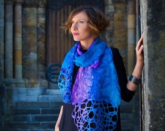 Felted scarf, scarf, hand painted, dyed,silk knitted, women, gift, art, leaves, designer, kate ramsey, lace, turqoise, violet, blue
