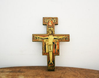 vintage 60s Paper on Wood Wall Hanging Crucifix // Religious Decor