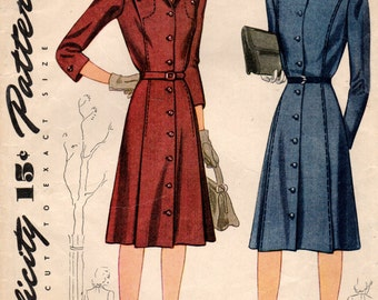 1940s Simplicity 4364 Vintage Sewing Pattern Misses Afternoon Dress, Coat Dress, Spectator Dress Size 12 Bust 30