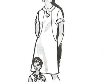 1970s Anne Adams 4541 UNCUT Vintage Sewing Pattern Misses Half Size A-line Dress, Scarf Size 14-1/2 Bust 37