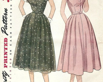 1950s Simplicity 3619 Vintage Sewing Pattern Misses Half Size Afternoon Shirtwaist Dress Size 16-1/2 Bust 35 Size 18-1/2 Bust 37
