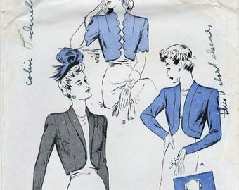 1940s Butterick 2843 FF Vintage Sewing Pattern Misses Tailored Boleros, Cropped Jackets Size 12 Bust 30