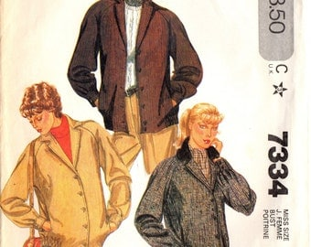 1980s McCall's 7334 UNCUT Vintage Sewing Pattern Misses Casual Jacket Size 8 Bust 31-1/2