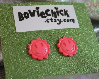Medium Smiley Flower Earrings, Pink, Orange, Mustard, Stud Earrings, Buttons, Nickel Free Posts