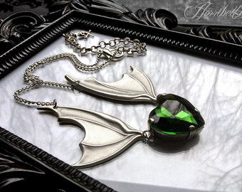 Bat Wing Necklace with Green Heart // Gothic Necklace // Bat Necklace // Green Heart Necklace // Wings Necklace // Gothic Gift