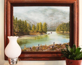 lake painting with Canadian geese - framed nature art - autumn decor