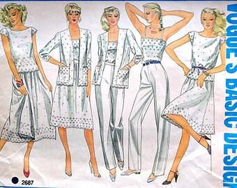 Vintage 80's Vogue 2687 Basic Design Sewing Pattern, Misses' Camisole, Top, Jacket, Skirt and Pants, Size 12, 34 Bust, Uncut FF, 1980's