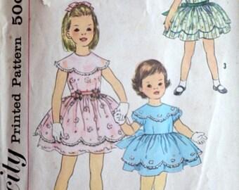 Vintage 60's Simplicity 3376 Sewing Pattern, Child's One-Piece Dress, Size 6, Party Dress, Flower Girl Dress, 1960's Kids Fashion