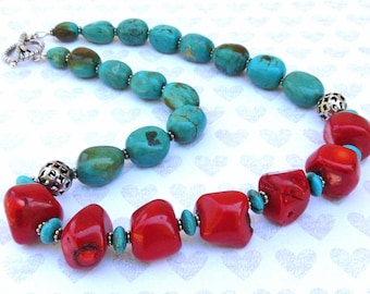 Vintage Hubei Turquoise Nuggets, Red Coral Nuggets, Sterling Silver Necklace - 18.5 inches long