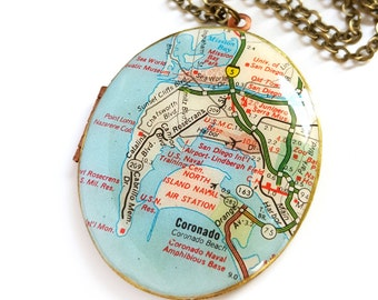 San Diego Map Necklace on a Large Brass Locket, Oval Locket, Coronado, California, Gift for Her, Ready to Ship