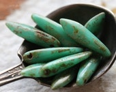 TURQUOISE DAGGERS .. 10 Premium Czech Picasso Dagger Beads 5x16mm (4975-10)