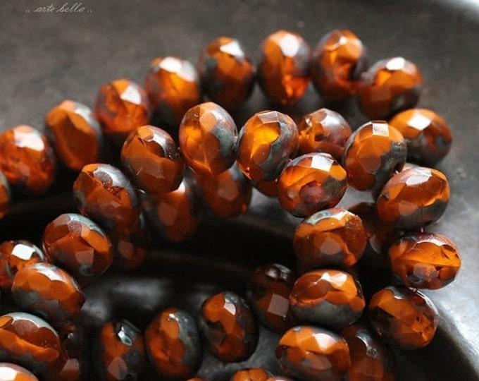 ZINNIA No. 2 .. 10 Premium Picasso Czech Rondelle Glass Beads 5x7mm (4740-10)