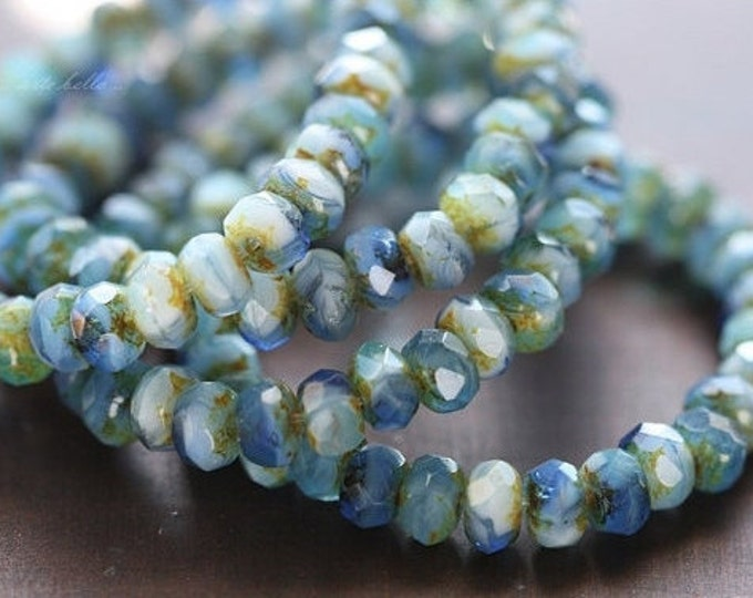 PACIFIC BITS .. 30 Premium Picasso Czech Rondelle Glass Beads 3x5mm (4472-st)