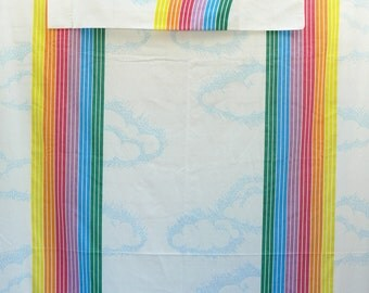 "Vintage 80s Rainbows & Clouds Twin Flat Sheet Pillowcase Set Pacific ""Canadian Sunset"" LGBT Gay Pride"