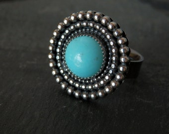 Bohemian turquoise ring / sterling turquoise ring / silver ring / turquoise jewelry / December birthstone / Sleeping Beauty turquoise ring