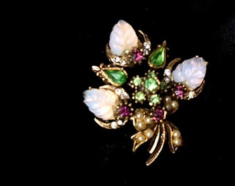 Vintage 1920s 1930s 1940s Brooch W Faux Opals, Green Peridot & Purple Stones Seed Pearls Brooch Pin Crescents Moon Shapes Art Nouveau Style