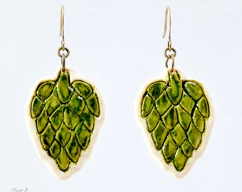 NEW - Etched Hop Earrings 2 - Beer Diva Beer Jewelry - Hop Jewelry - Beer Gear - Beer Geek Gift